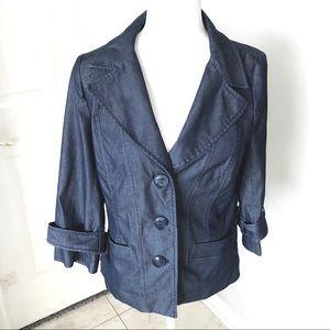 Halogen Dark Blue Denim Blazer Sz Small